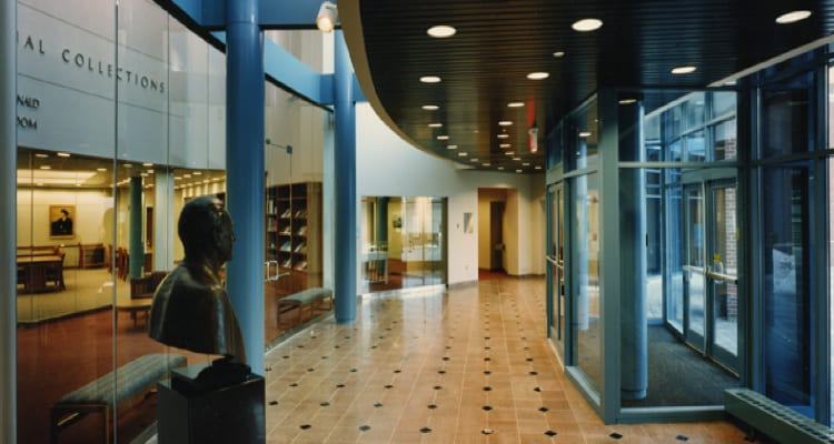 Dodd Research Center foyer, looking North