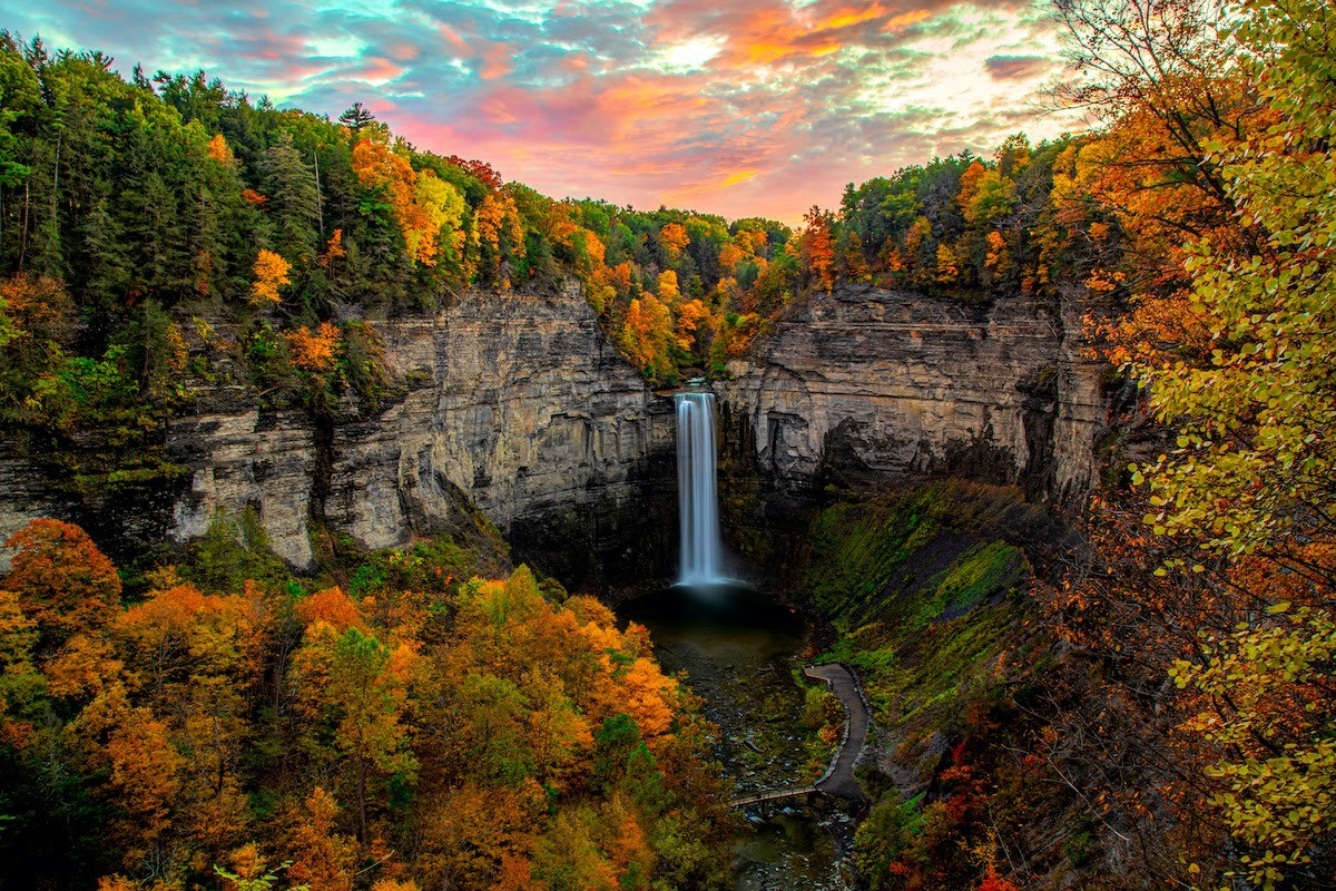 Waterfall in autumn in Ithaca, New York