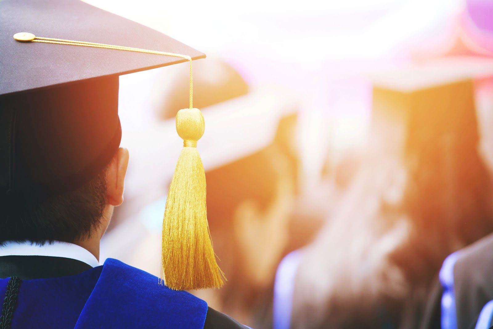 Types of business degrees: Closeup of person wearing grad cap