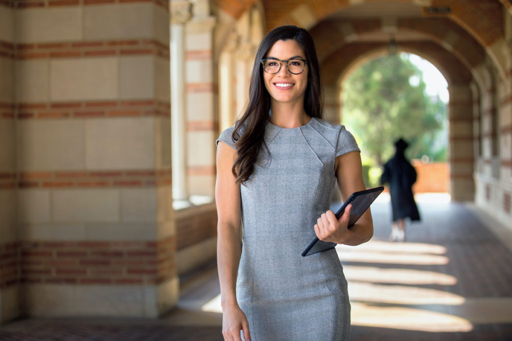 masters in human resources: woman walking in a university