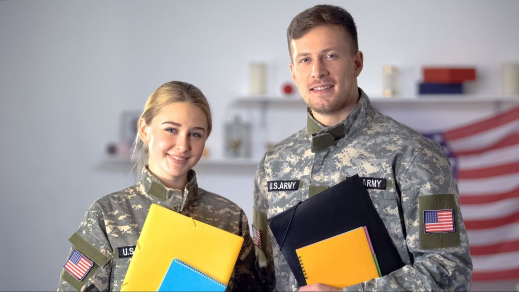 rotc scholarship: man and woman in army uniform